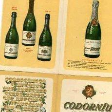 Coleccionismo de cava: FOLLETO PUBLICITARIO DE CAVA CODORNIU SEIX&BARRAL. Lote 5695496
