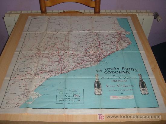 MAPA DE LAS CARRETERAS DE CATALUNYA OBSEQUIO DE LA CASA CODORNIU A SUS CLIENTES AUTOMOVILISTAS 1927, (Coleccionismo - Botellas y Bebidas - Cava)