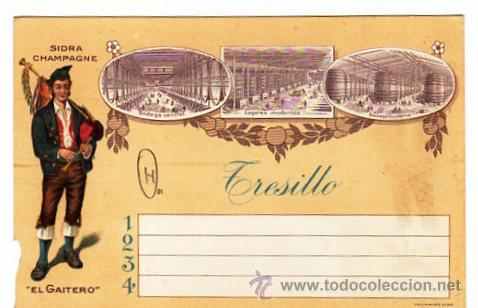 Coleccionismo de cava: Sidra Champagne. El gaitero. Tarjeta comercial tamaño postal moderna. Villaviciosa Asturias. - Foto 2 - 17525400