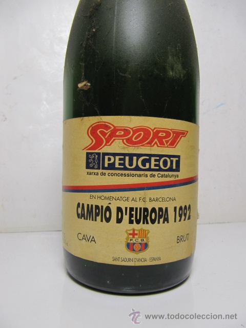Coleccionismo de cava: Botella Cava Homenaje al FC Barcelona, Campió d'Europa, 1992 - Foto 2 - 25009463
