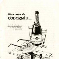 Coleccionismo de cava: PÁGINA PUBLICIDAD ORIGINAL *CODORNIU* - DE AGENCIA PUBLICIDAD OESTE -- AÑO 1962. Lote 36046633