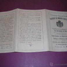 Coleccionismo de cava: CATALOGO FOLLETO . VINOS DE CHAMPAGNE DUQUE DE MONTEBELLO PROPIETARIO DE LOS ANTIGUOS VIÑEDOS DE LOS. Lote 44374344