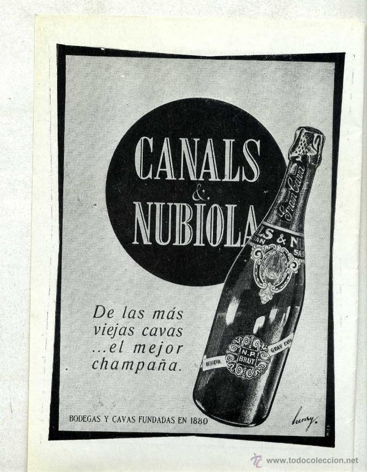 PUBLICIDAD ORIGINAL EPOCA - CANALS & NUBIOLA N.P. BRUT (Coleccionismo - Botellas y Bebidas - Cava)