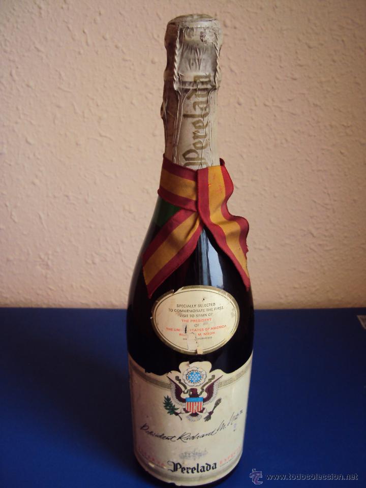 (CAV-927)RICHARD NIXON MADRID 1970 BOTELLA DE CAVA PERELADA SIN DESCORCHAR CONMEMORATIVA (Coleccionismo - Botellas y Bebidas - Cava)