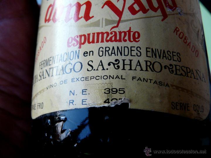 Coleccionismo de cava: BOTELLA VINTAGE DOM YAGO - RIOJA SANTIAGO - HARO VINO ESPUMANTE ROSADO - Foto 21 - 53089636