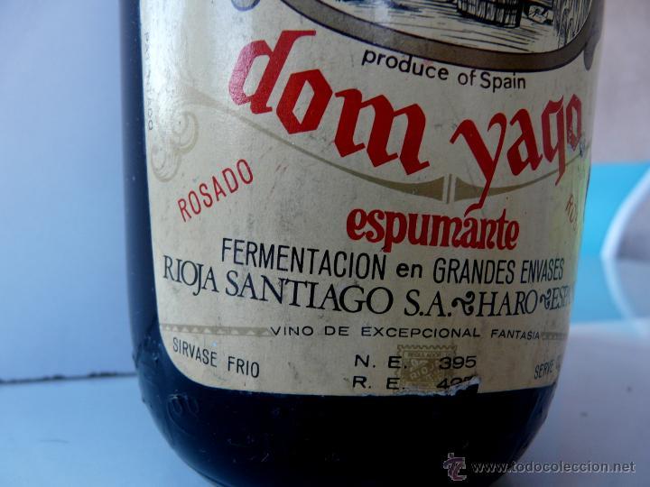 Coleccionismo de cava: BOTELLA VINTAGE DOM YAGO - RIOJA SANTIAGO - HARO VINO ESPUMANTE ROSADO - Foto 22 - 53089636