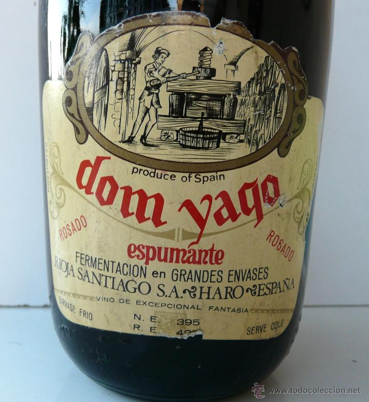 Coleccionismo de cava: BOTELLA VINTAGE DOM YAGO - RIOJA SANTIAGO - HARO VINO ESPUMANTE ROSADO - Foto 23 - 53089636