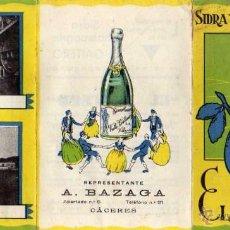 Coleccionismo de cava: TRIPTICO PUBLICIDAD SIDRA Y JUGO DE MANZANA EL GAITERO. A. BAZAGA CÁCERES. Lote 52557231