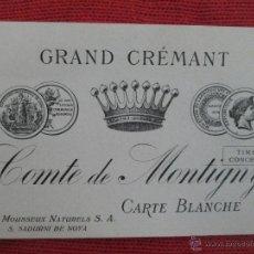 Coleccionismo de cava: ANTIGUA ETIQUETA CAVA GRAND CRÉMANT - COMTE DE MONTIGNY - CARTE BLANCHE - S. SADURNI DE NOYA -ESPAÑA. Lote 54043174