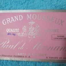 Coleccionismo de cava: ANTIGUA ETIQUETA DE CAVA GRAND MOUSSEUX - PAUL DE MORNANT- CARTE D'ARGENT- S. SADURNI DE NOYA-ESPAÑA. Lote 54043206