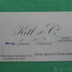 Coleccionismo de cava: ANTIGUA ETIQUETA DE CAVA KITT & CO - CUVEÉ RÉSERVEÉ - VINS MOUSSEUX NATURELS. - S. SADURNI DE NOYA. Lote 54068576
