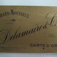 Coleccionismo de cava: ANTIGUA ETIQUETA DE CAVA DELAMAIRE & CO CARTE D'OR - GRAND MOUSSEUX - S. SADURNI DE NOYA - ESPAÑA. Lote 54068602