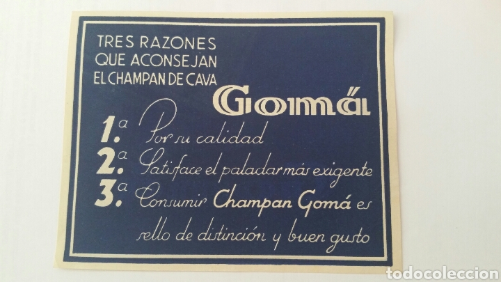 Coleccionismo de cava: ETIQUETA CAVAS GOMÁ. CHAMPAN ORIGINAL Y DIFÍCIL DOBLE CARA - Foto 2 - 62874098