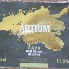 Coleccionismo de cava: ETIQUETA DE CAVA ARTIUM BRUT NATURE RESERVA . Lote 68986233