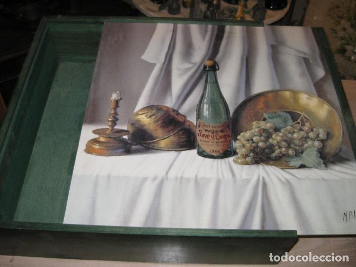 PRECIOSA CAJA DE MADERA VACIA DE CAVA ** JUVE Y CAMPS ** CON LITOGRAFIA FIRMADA (Coleccionismo - Botellas y Bebidas - Cava)
