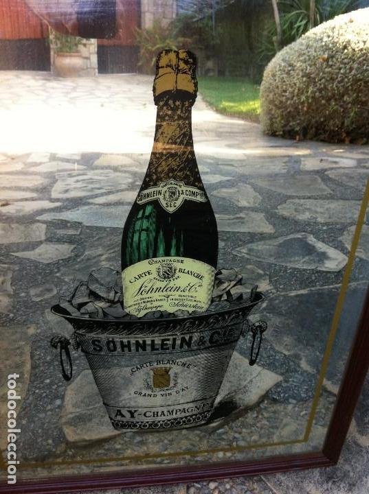 Coleccionismo de cava: Espejo Botella Champagne Söhnlein & Cie. Carte Blanche. Antiguo. - Foto 2 - 130016575