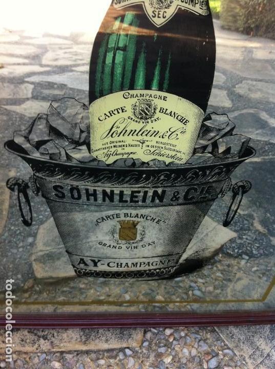 ESPEJO BOTELLA CHAMPAGNE SÖHNLEIN & CIE. CARTE BLANCHE. ANTIGUO. (Coleccionismo - Botellas y Bebidas - Cava)