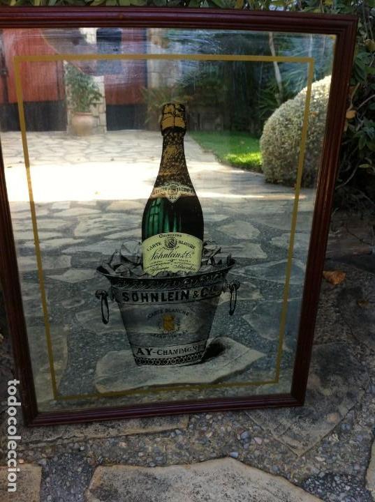 Coleccionismo de cava: Espejo Botella Champagne Söhnlein & Cie. Carte Blanche. Antiguo. - Foto 3 - 130016575