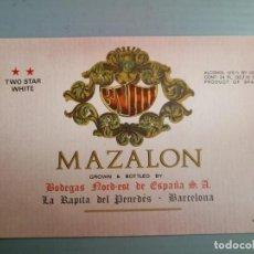 Coleccionismo de cava: ETIQUETA ANTIGUA CAVAS ,VINOS MAZALON. Lote 131613646