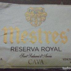 Coleccionismo de cava: ETIQUETA DE CAVA MESTRES RESERVA ROYAL . Lote 143104150