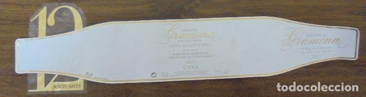 ETIQUETA CAVA GRAMONA ENOTECA GRAN RESERVA 2001 FINCA DE L'ORIGEN ETIQUETA NUMERADA A MANO. (Coleccionismo - Botellas y Bebidas - Cava)