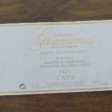 Coleccionismo de cava: ETIQUETA CAVA GRAMONA ENOTECA GRAN RESERVA 2001 FINCA DE L'ORIGEN ETIQUETA NUMERADA A MANO. . Lote 147938422