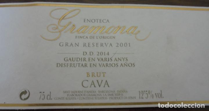 Coleccionismo de cava: ETIQUETA CAVA GRAMONA ENOTECA GRAN RESERVA 2001 FINCA DE LORIGEN ETIQUETA NUMERADA A MANO. - Foto 3 - 147938422