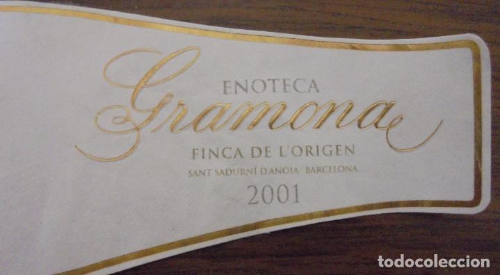 Coleccionismo de cava: ETIQUETA CAVA GRAMONA ENOTECA GRAN RESERVA 2001 FINCA DE LORIGEN ETIQUETA NUMERADA A MANO. - Foto 4 - 147938422