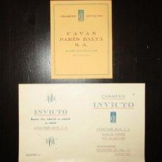 Coleccionismo de cava: CHAMPÁN INVICTO DE CAVAS PARÉS BALTÁ. DOS HOJAS PUBLICITARIAS CON PRECIOS DE 1944 Y 1950.. Lote 154364226