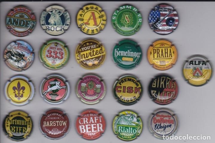 LOTE DE 21 PLACAS DE CAVA DE MARCAS DE CERVEZA (CAPSULE) BEER (Coleccionismo - Botellas y Bebidas - Cava)