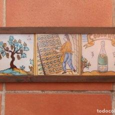 Coleccionismo de cava: CAVAS CODORNIU SANT SADURNI D'ANOIA PROCESO DE ELABORACIÓN EN 3 BALDOSAS DE CERÁMICA ENMARCADAS.. Lote 191286683