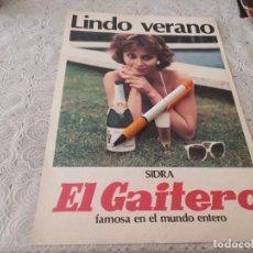 Coleccionismo de cava: SIDRA EL GAITERO ANTIGUO ANUNCIO PUBLICIDAD REVISTA PAPEL GRUESO ÚNICO EN TC!!!. Lote 206806908