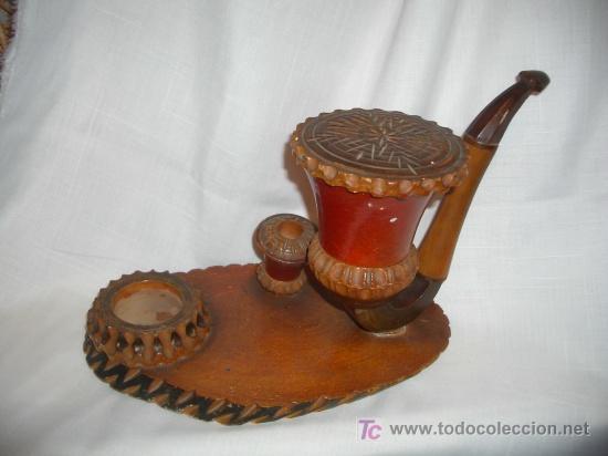 CURIOSO PORTACIGARRILOS, CERILLERO Y CENICERO (Coleccionismo - Objetos para Fumar - Ceniceros)