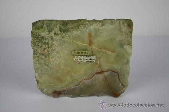 Ceniceros: CENICERO EN JADE CON REPOSA CIGARROS EN PLATA CON FORMA DE PARRA MED S XX. - Foto 5 - 38053188