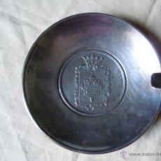 Ceniceros: CENICERO DE METAL PLATEADO CON ESCUDO DE LA NOBLE CIUDAD DE TARANCON. AÑOS 60. Lote 39992357