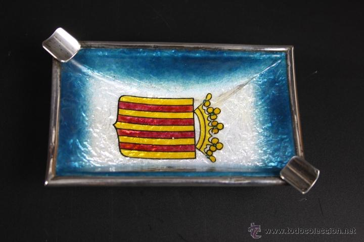 CENICERO EN PLATA DE LEY CON ESMALTE, ESCUDO DE VALENCIA, S. XX (Coleccionismo - Objetos para Fumar - Ceniceros)