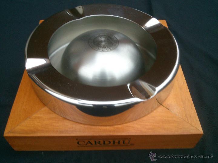 GRAN CENICERO INOX Y MADERA.CARDHU SINCLE MALT (Coleccionismos - Ceniceros)