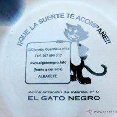 Ceniceros: GRACIOSO CENICERO DE CERÁMICA - PUBLICIDAD LOTERÍA EL GATO NEGRO - ALBACETE . Lote 49418788