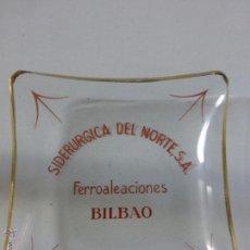 Ceniceros: ANTIGUO CENICERO-TARJETERO DE CRISTAL.PUBLICIDAD DE SIDERÚRGICA DEL NORTE,S.A.FERROALEACIONES-BILBAO. Lote 50611855
