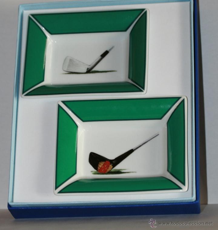CAJA DE COLECCIÓN MISENCEN CON DOS CENICEROS DE PORCELANA CON MOTIVOS DE GOLF (Coleccionismo - Objetos para Fumar - Ceniceros)