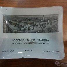 Ceniceros: CENICERO VIDRIO PUBLICIDAD DE SOCIEDAD FRANCO ESPAÑOLA, BILBAO. AÑOS 60/70. Lote 51461060