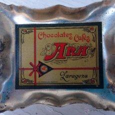 Ceniceros: ANTIGUO CENICERO PUBLICIDAD DE CHOCOLATES ARA , ZARAGOZA , ORIGINAL. Lote 63831058
