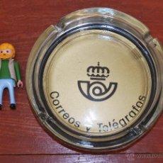 Ceniceros: CENICERO DE CRISTAL - CORREOS Y TELÉGRAFOS - PUBLICIDAD. Lote 54257424