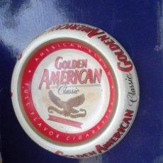 Ceniceros: BONITO CENICERO METALICO CIGARETTES GOLDEN AMERICAN. Lote 54843399