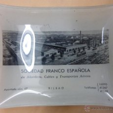 Ceniceros: ANTIGUO CENICERO-TARJETERO CRISTAL PUBLICIDAD SOCIEDAD FRANCO ESPAÑOLA ALAMBRES,CABLE-BILBAO.AÑOS 50. Lote 54851407
