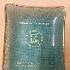 Ceniceros: ANTIGUO CENICERO-TARJETERO DE CRISTAL PUBLICIDAD PINTURAS BARNICES EDUARDO DE ARTIACH-BILBAO.AÑOS 50. Lote 54851413