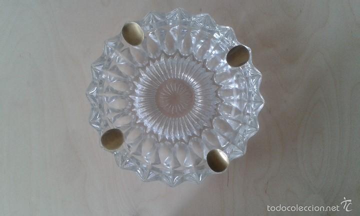 Ceniceros: -- ITALIA -- Precioso cenicero de cristal con reposacigarrillos de metal dorado - Foto 5 - 57088572