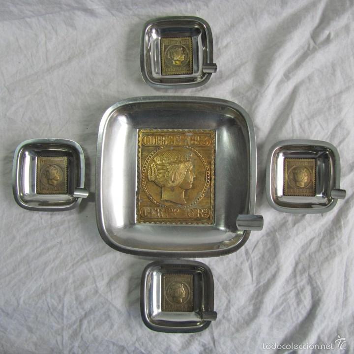 5 CENICEROS SELLO CORREOS 1853 (Coleccionismo - Objetos para Fumar - Ceniceros)