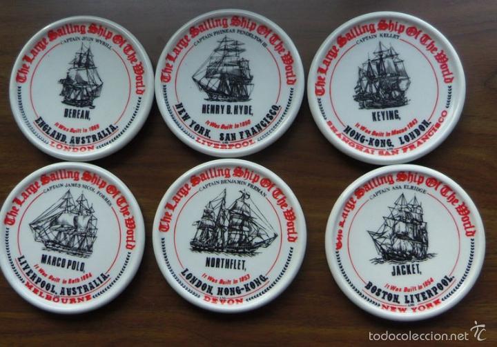 LOTE DE 6 PLATOS CENICEROS GRUESOS TEMA NAVAL - BARCOS (Coleccionismo - Objetos para Fumar - Ceniceros)