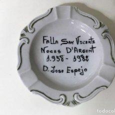Ceniceros: CENICERO CONMEMORATIVO FALLA SAN VICENTE 1958-1982. Lote 62354560